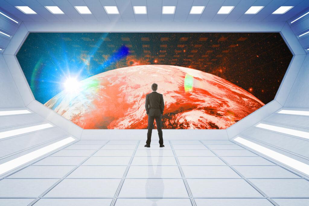Mann_Raumschiff_Fenster_Planet_Sonnenaufgang_Zukunft