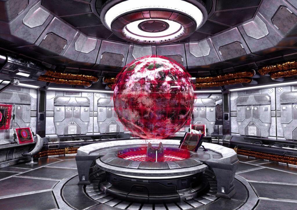 Raumfahrt_Raumschiff_Astro_Kugel_Komandostand_Zentrale_Planet_rot